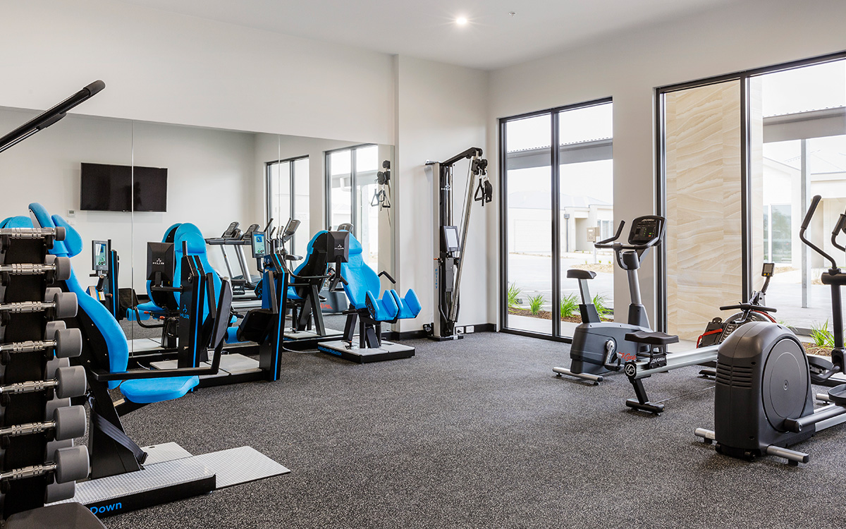 Well-equipped gym at The Breeze Point Lonsdale