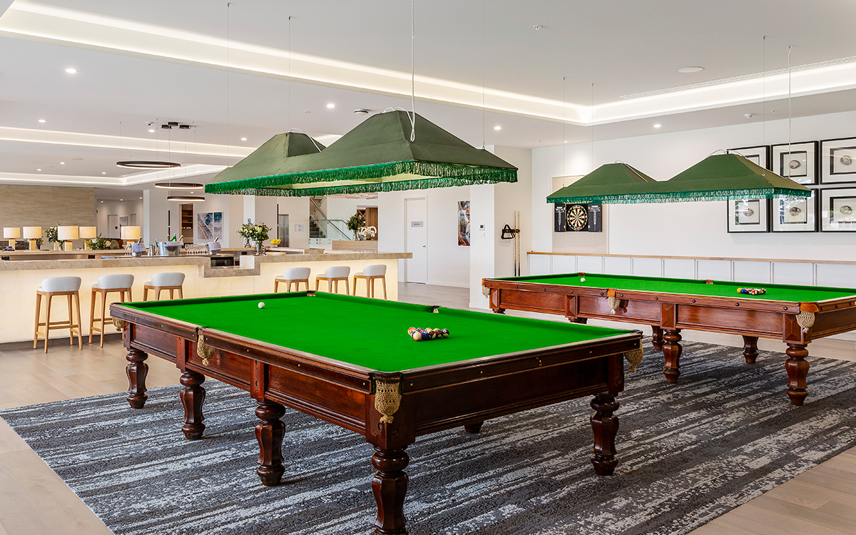 Billiards tables at The Breeze Point Lonsdale